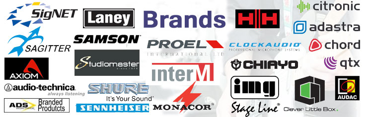 A wide range of brands to choose from including Adastra, ADS, Audio-technica, Audac, Axiom, Carlsbro, Chiayo, Chord, Citronic, Clever Little Box, Clock Audio, HH, Laney, Monacor, Proel, Saggiter, Samson, Sennheiser, Shure, Signet, Stageline, Studiomaster, QTX and more